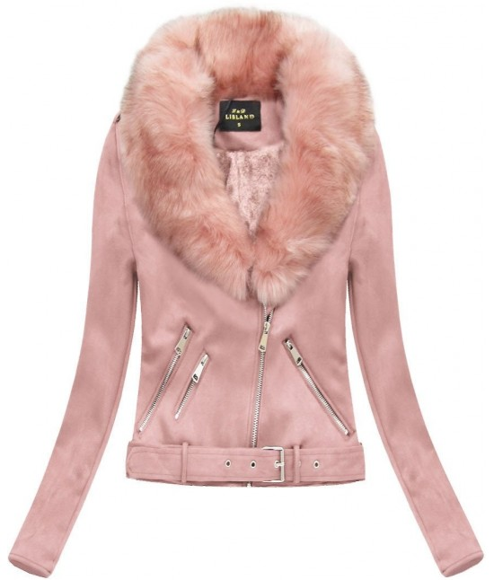 Dámska zimná zamatová bunda s kožušinou 6500 ružová XL