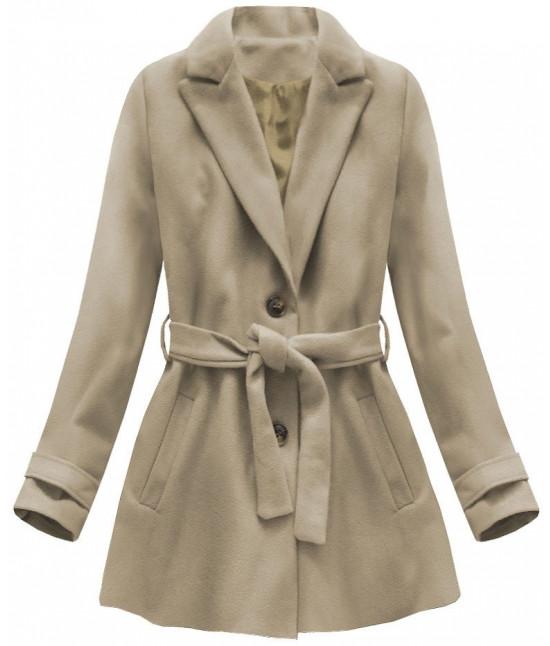 Dámsky kabát s opaskom MODA808 béžový veľkosť M