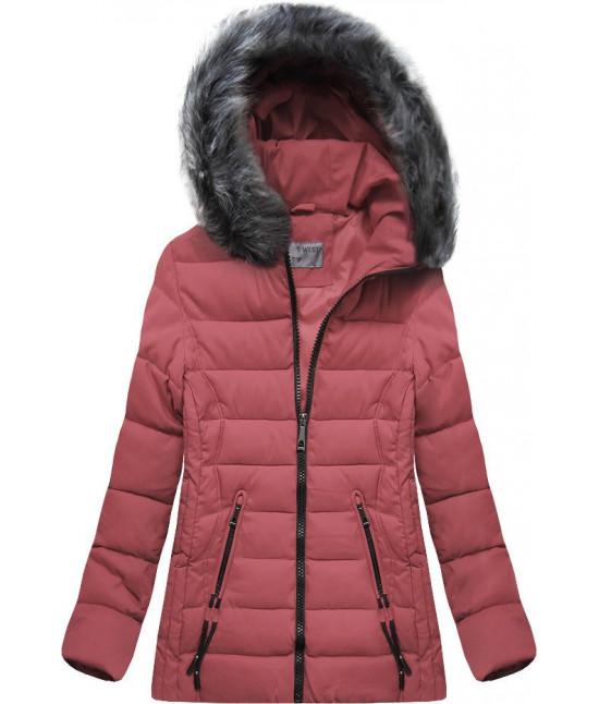 Dámska zimná bunda MODA503 tmavoružová