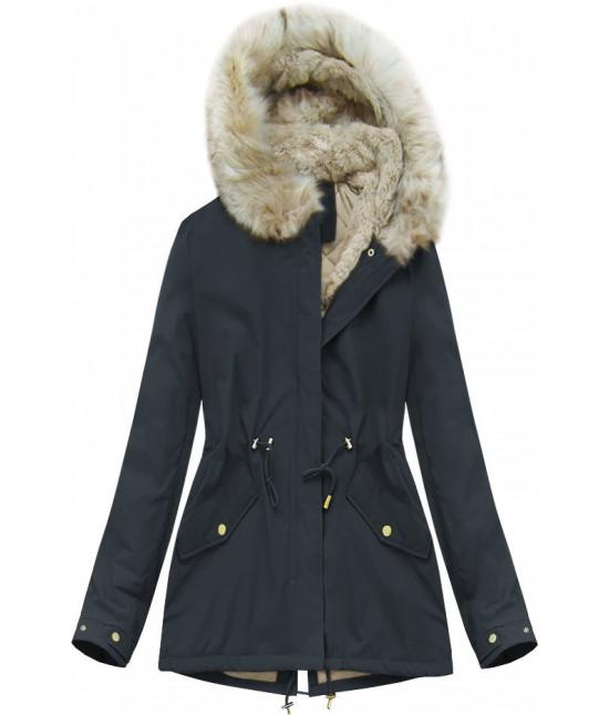 Dámska zimná bunda MODA648 tmavomodrá