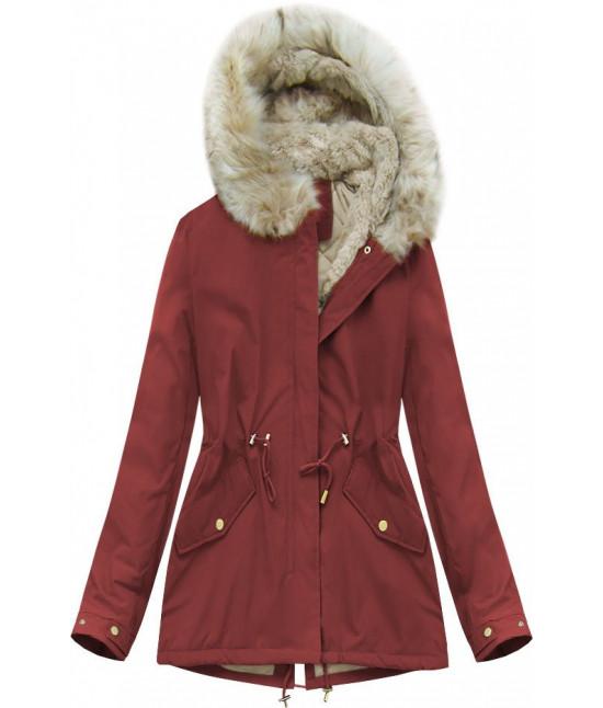 Dámska zimná bunda MODA648 bordová