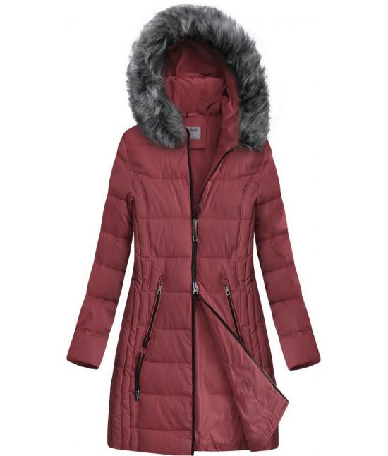 Dlhšia prešívaná zimná bunda s kapucňou MODA9501 tmavoružová