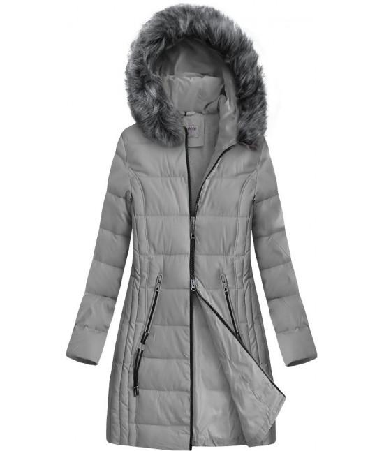 Dlhšia prešívaná zimná bunda s kapucňou MODA9501 šedá