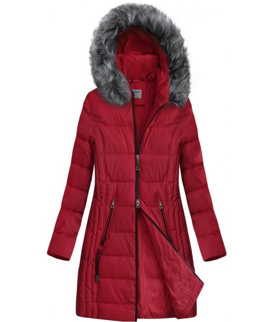 Dlhšia prešívaná zimná bunda s kapucňou MODA9501 červená