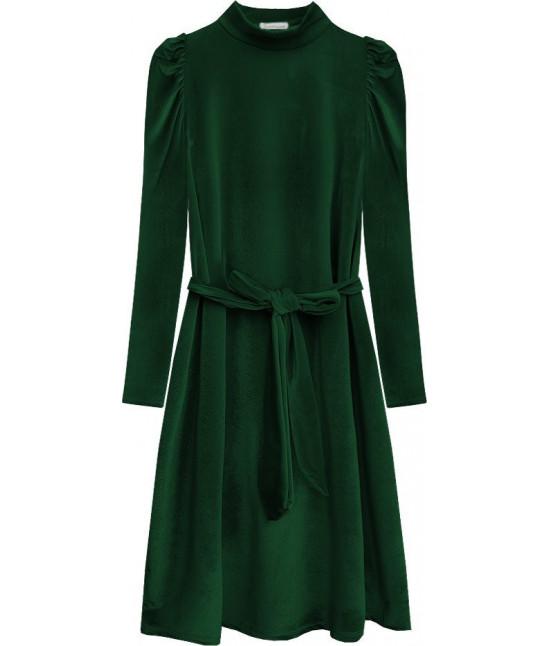 Dámske velúrové šaty MODA487 zelené