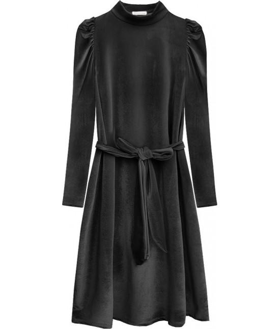 Dámske velúrové šaty MODA487 tmavošedé