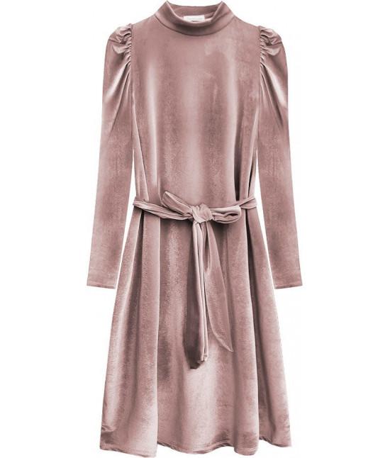 Dámske velúrové šaty MODA487 ružová