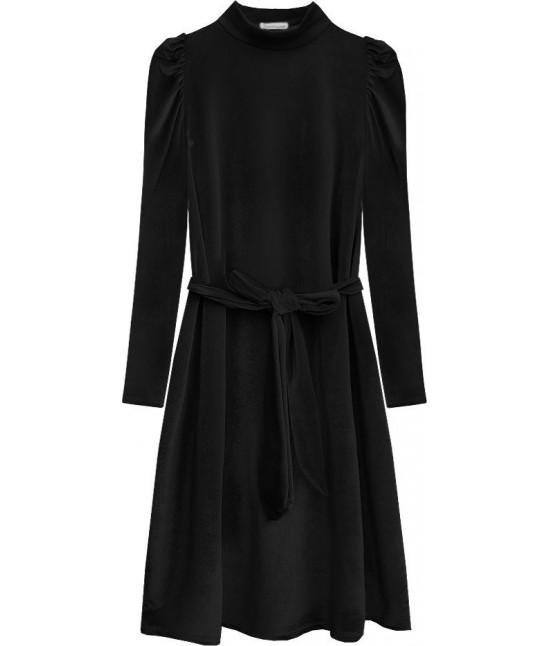 Dámske velúrové šaty MODA487 čierne