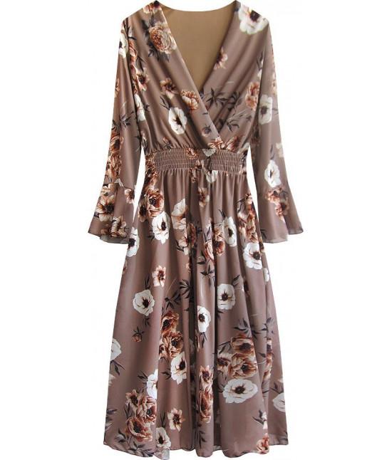 Dámske šifónové šaty MODA483 hnedé