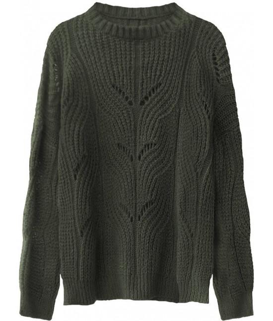 Mäkký dámsky sveter MODA495 khaki