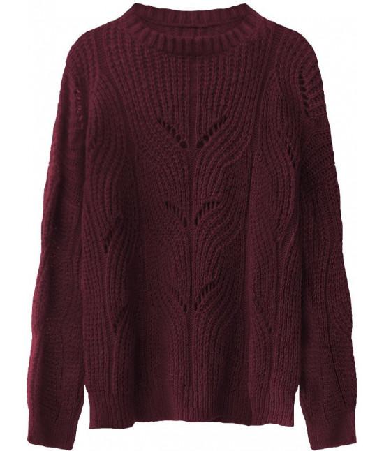 Mäkký dámsky sveter MODA495 bordový
