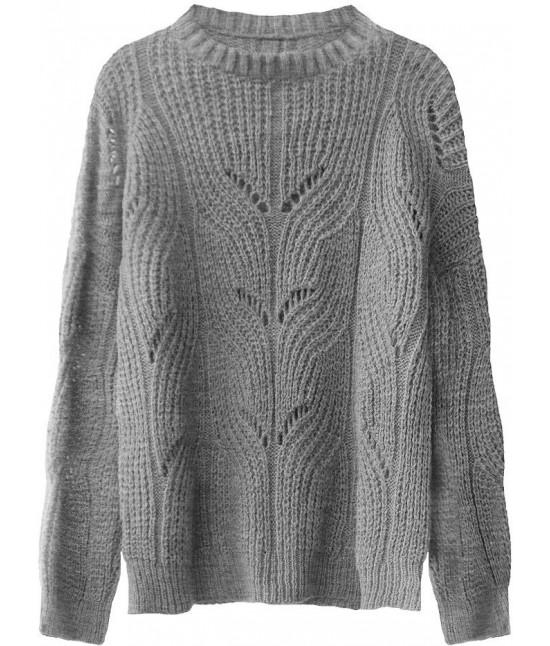 Mäkký dámsky sveter MODA495 tmavošedý