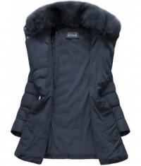Prešívaná dámska zimná bunda MODA059 tmavomodrá L