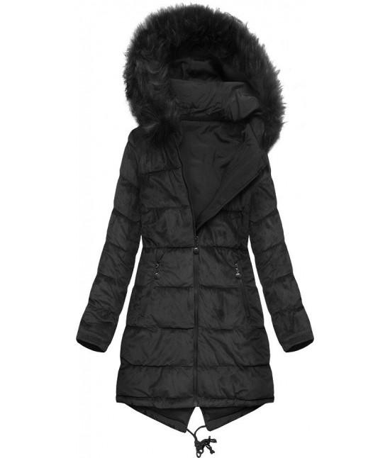 Dámska obojstranná zimná bunda MODA911 čierna