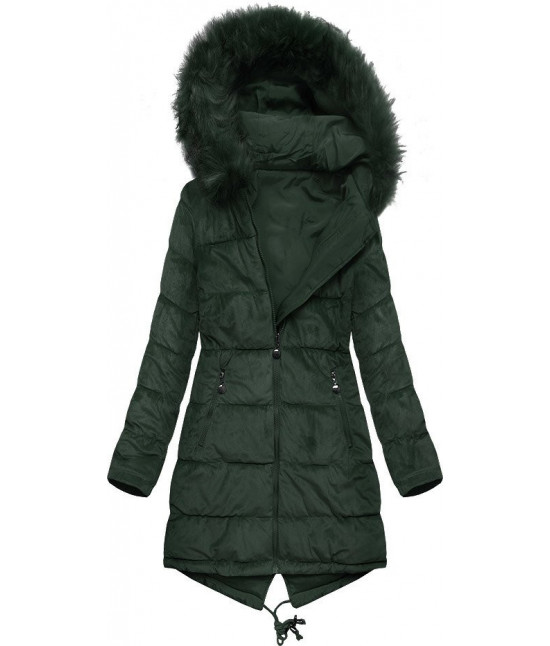 Dámska obojstranná zimná bunda MODA911 tmavozelená