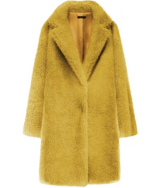 Dámsky kožušinový kabát MODA461 horčicový