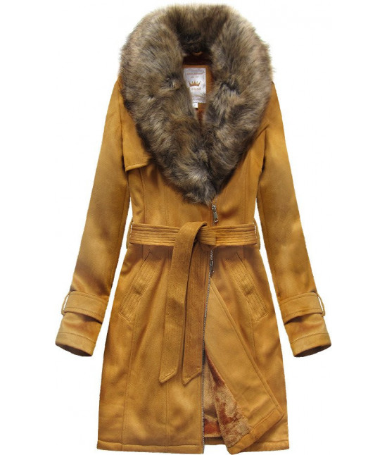 Dámsky zamatový kabát MODA515 horčicový veľkosť XL