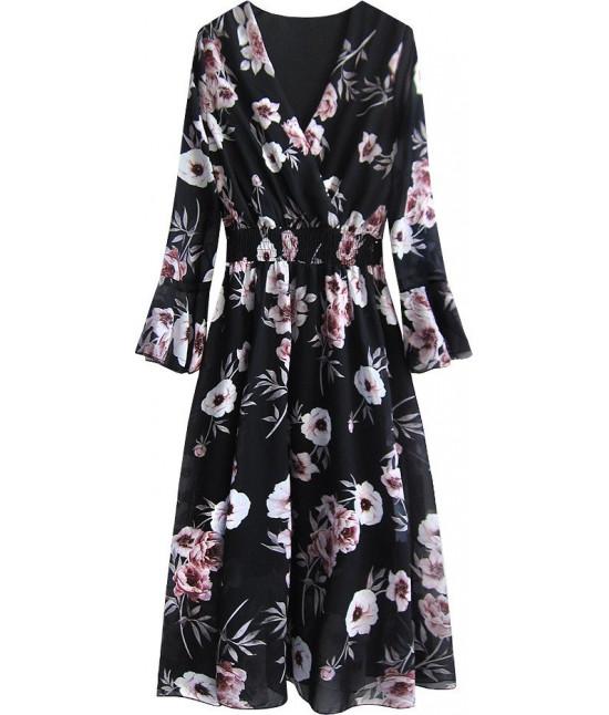 Dámske šifónové šaty MODA483 čierne