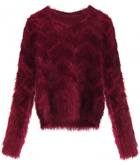 Krátky dámsky sveter MODA499 bordový