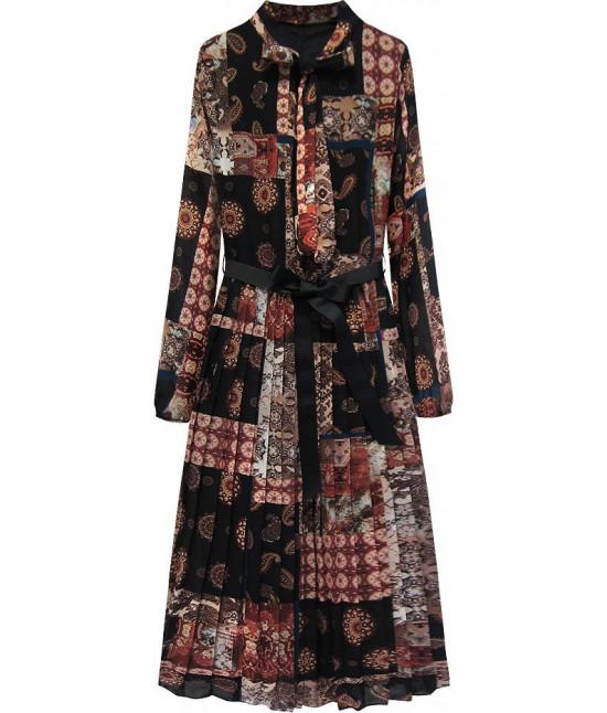 Dámske šaty MODA503 čierno-bordové