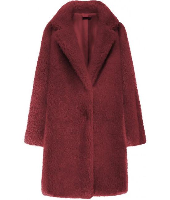 Dámsky kožušinový kabát MODA461 bordový