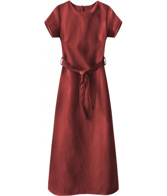 Dlhé dámske šaty z eko-kože MODA504 červené