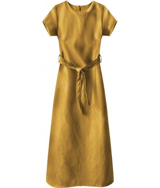 Dlhé dámske šaty z eko-kože MODA504 žlté