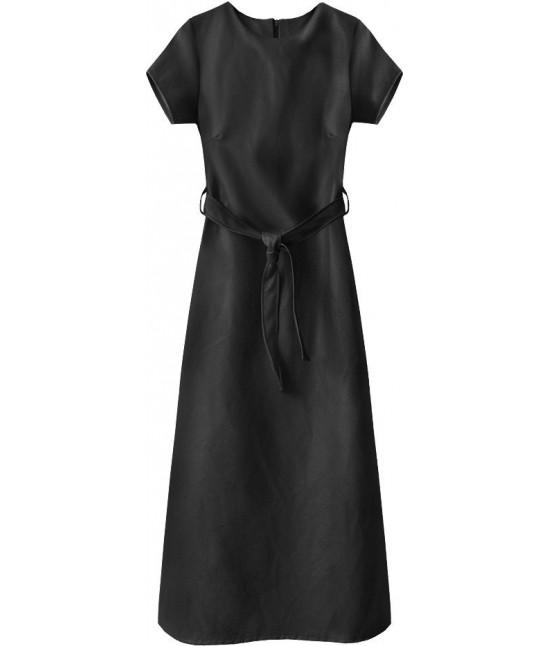 Dlhé dámske šaty z eko-kože MODA504 čierne
