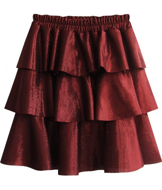 Lesklá dámska sukňa MODA508 červená