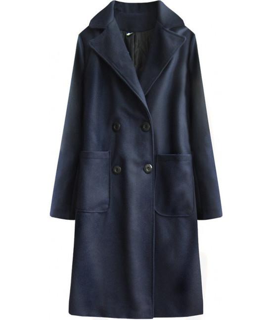 Dlhý dámsky bavlnený kabát MODA515BIG tmavomodrý