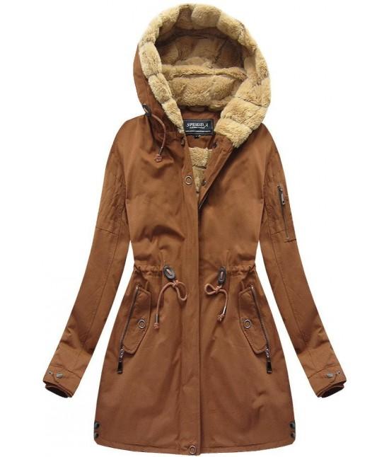 Dámska zimná bunda parka MODA807BIG karamelová 3XL