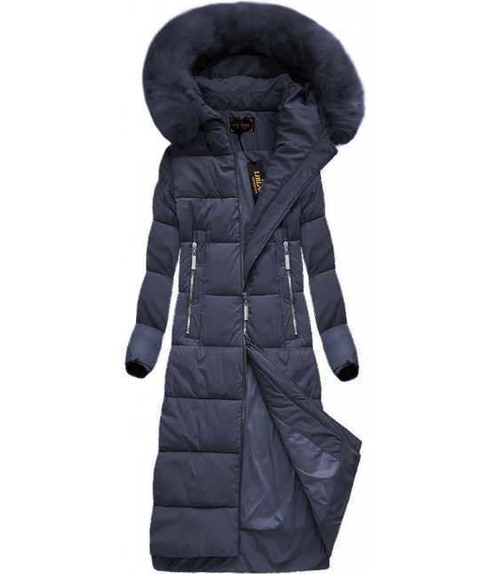 Dlhá dámska zimná bunda MODA688 tmavomodrá