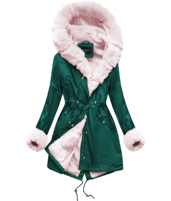 Zimná dámska bunda parka MODA500 zeleno-ružová