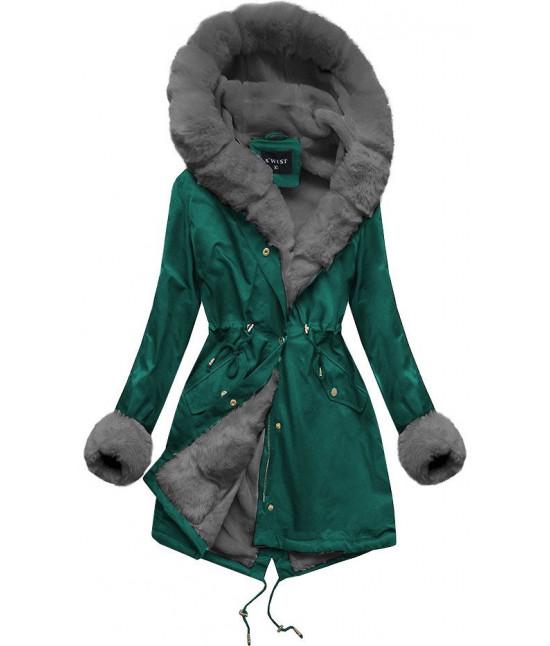 Zimná dámska bunda parka MODA500 zeleno-šedá