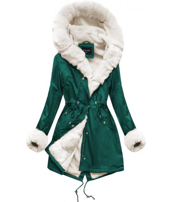 Zimná dámska bunda parka MODA500 zeleno-béžová
