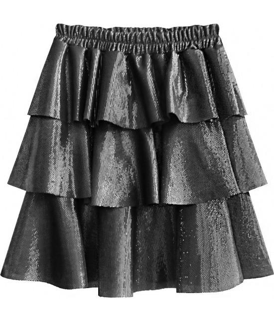 Lesklá dámska sukňa MODA508 strieborná