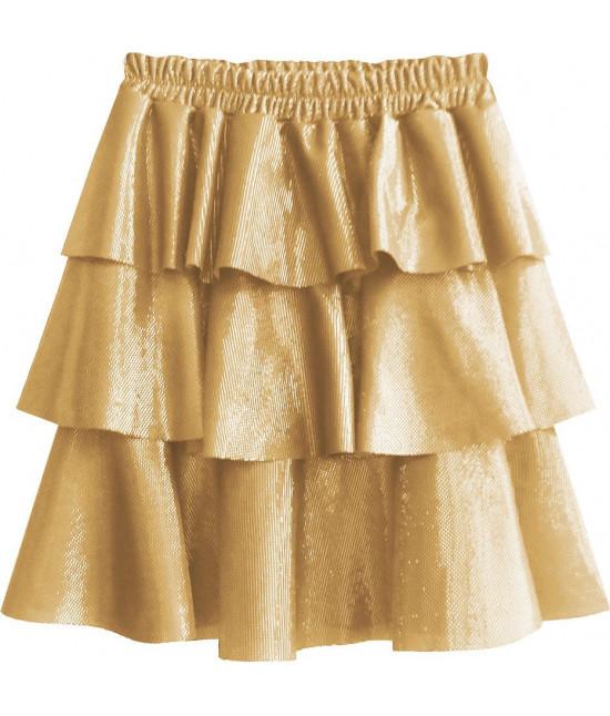 Lesklá dámska sukňa MODA508 žltá