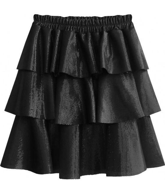 Lesklá dámska sukňa MODA508 čierna
