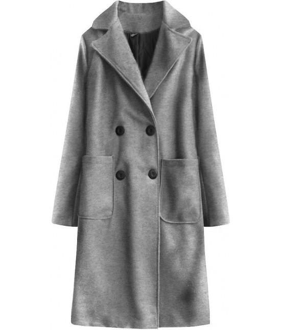 Dlhý dámsky bavlnený kabát MODA515BIG svetlošedý