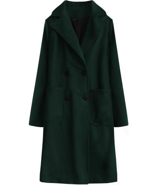 Dlhý dámsky bavlnený kabát MODA515BIG tmavozelený