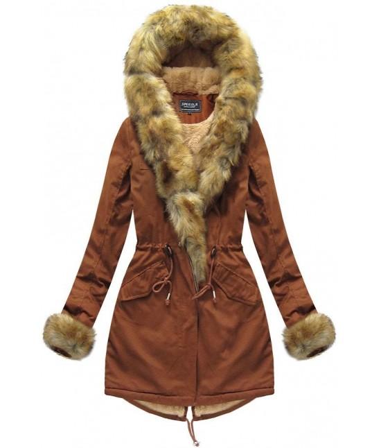 Dámska zimná bunda parka MODA793BIG karamelová 6XL