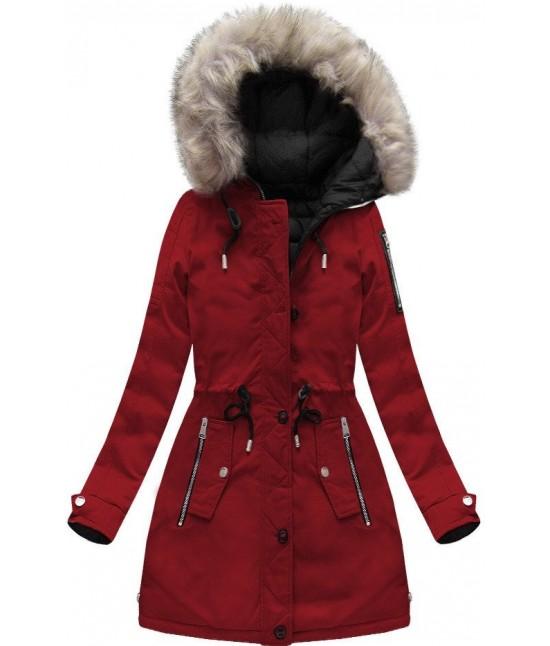 Dámska zimná obojstranná bunda parka MODA631 bordovo-čierna veľkosť M