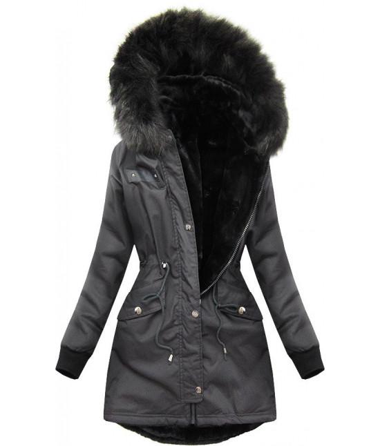 Dámska zimná obojstranná bunda parka MODA623 tmavošedá