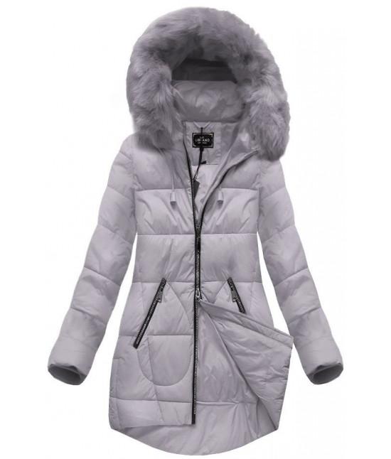 Dámska zimná bunda s kapucňou MODA703 šedo-ružová veľkosť M