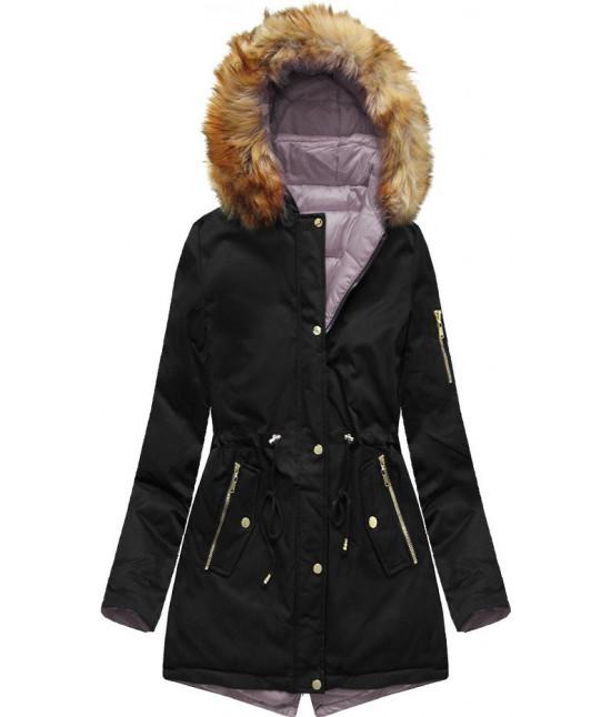 Dámska obojstranná zimná bunda MODA2636 čierno-ružová S