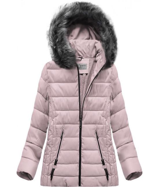 Prešívaná dámska zimná bunda MODA505 svetloružová veľkosť 7XL