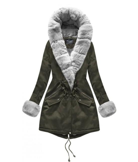 Bavlnená dámska zimná bunda MODA801BIG khaki 4XL