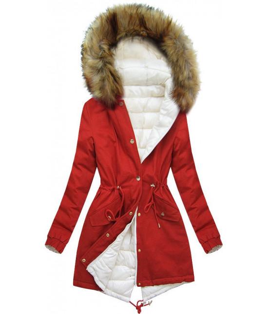 Dámska zimná obojstranná bunda MODA507 ecru-tehlová