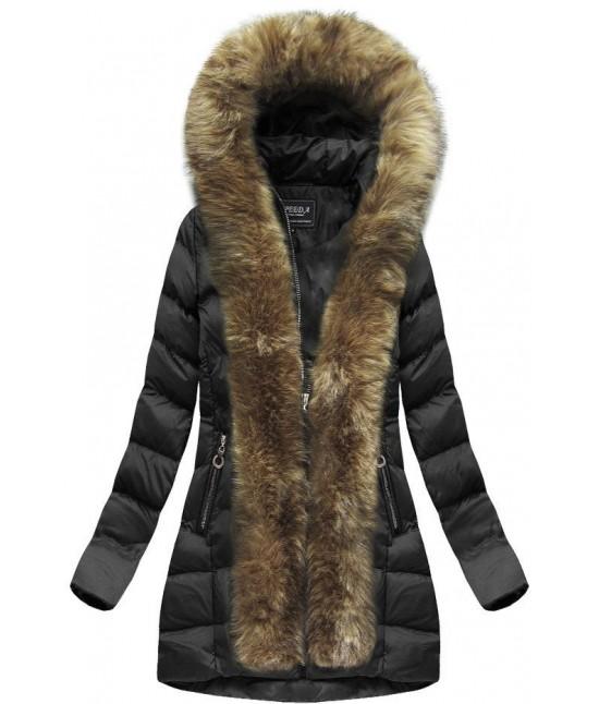 Dámska zimná bunda s kožušinou MODA756BIG čierna veľkosť 7XL