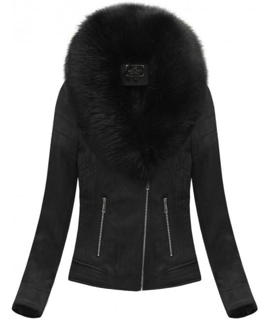 Dámska zamatová zimná bunda 6502BIG čierna veľkosť 6XL